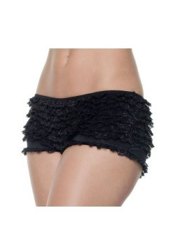 Plus Size Black Ruffle Boy Shorts