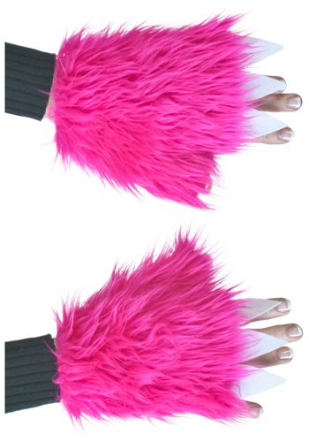 Adult Hot Pink Furry Hand Covers