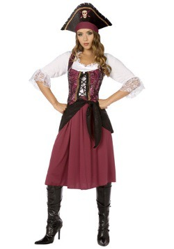 Plus Burgundy Pirate Wench Costume