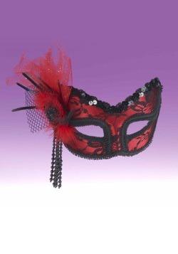 Red Black Lace Half Mask