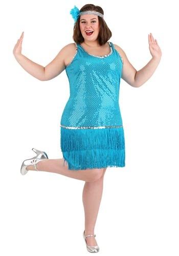 Plus Size Sequin & Fringe Turquoise Flapper Costume