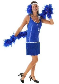 Sequin & Fringe Plus Size Blue Flapper Costume
