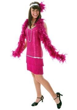 Plus Size Sequin & Fringe Fuchsia Flapper Dress Costume