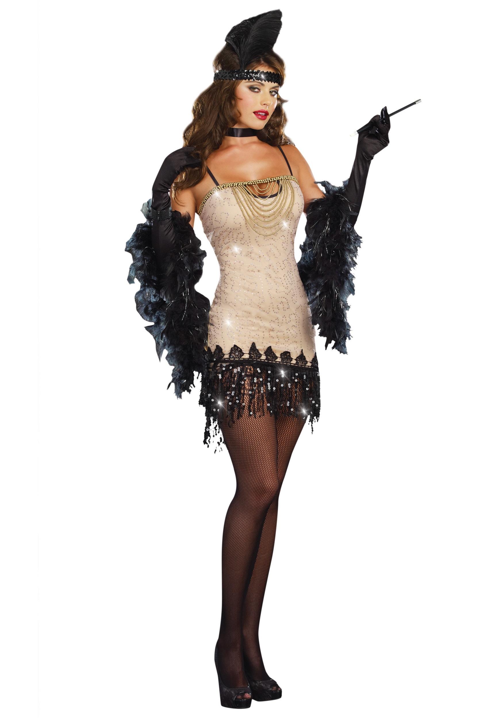 Womens 1920s flapper dress fancy dress costume adult flapper dress - Womens Jazzy Jezebell Flapper Costume