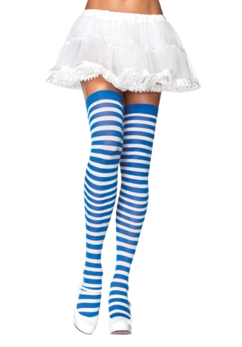 Blue / White Striped Stockings