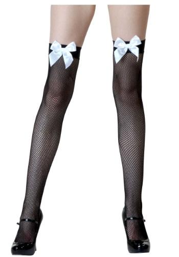 Black Fishnet / White Bow Thigh Highs