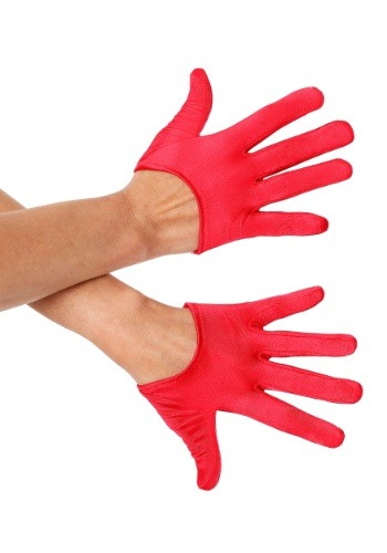 Red Mini Cropped Satin Gloves