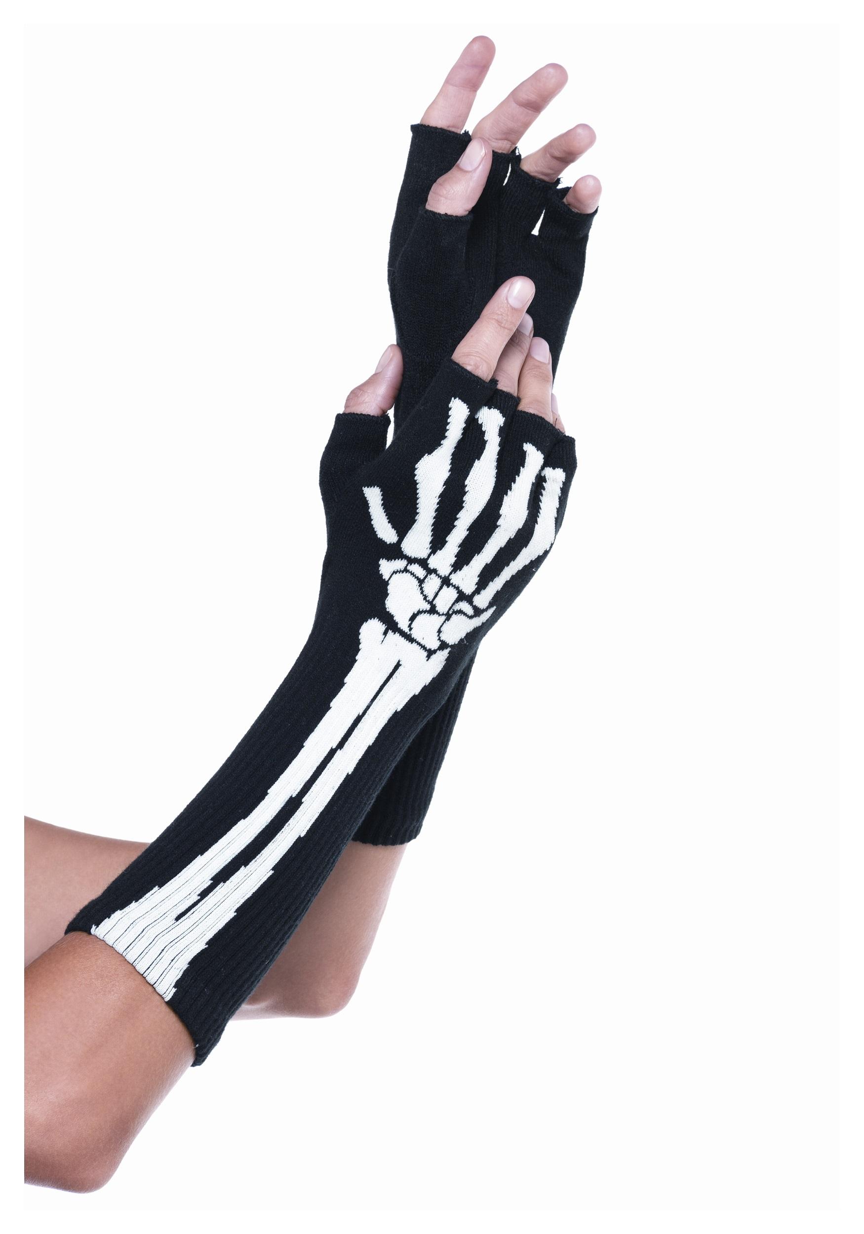 Adult Mens Gothic Skeleton Gloves