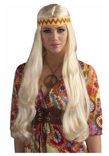 Blonde Hippie Chick Wig w/Headband