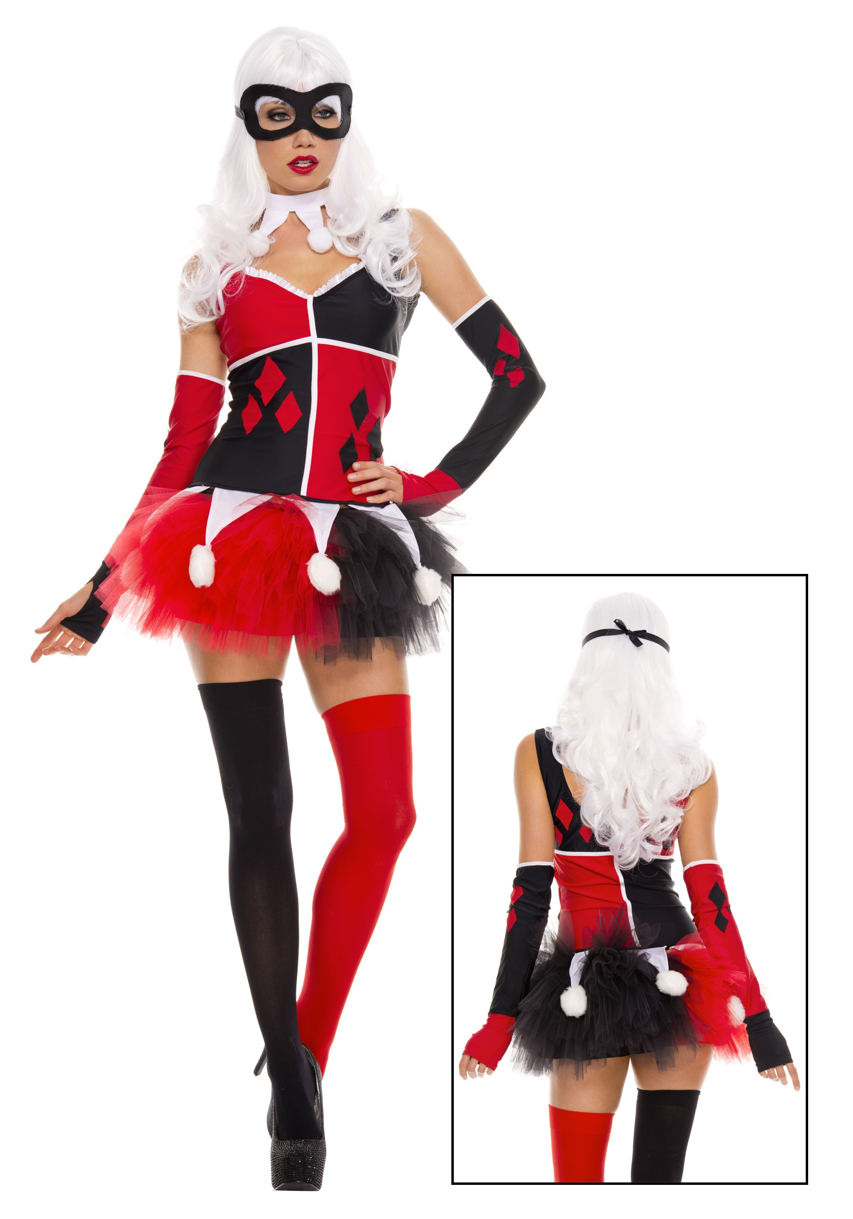 Womens Harley Jester Costume  sc 1 st  Halloween Costumes UK & Womenu0027s Harley Jester Costume