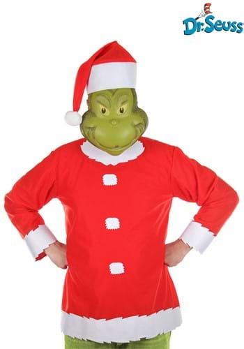 Adult Grinch Costume Top Hat and Half Mask 1