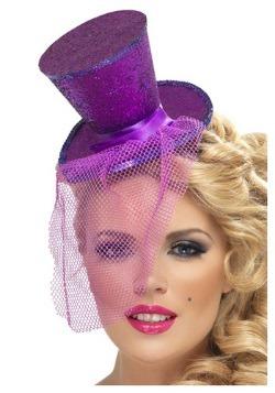 Fever Purple Glitter Mini Top Hat