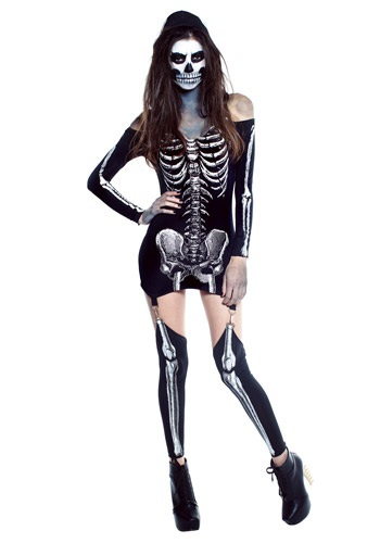 Womens X-Rayed Skeleton Dress Costume