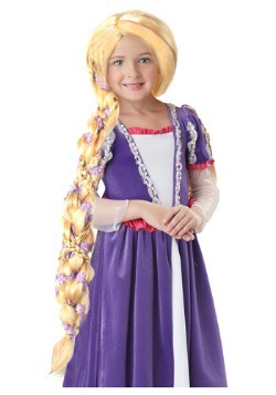 rapunzel costume wig with flowers for girls