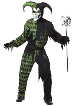 Mens Green Scary Jester Costume