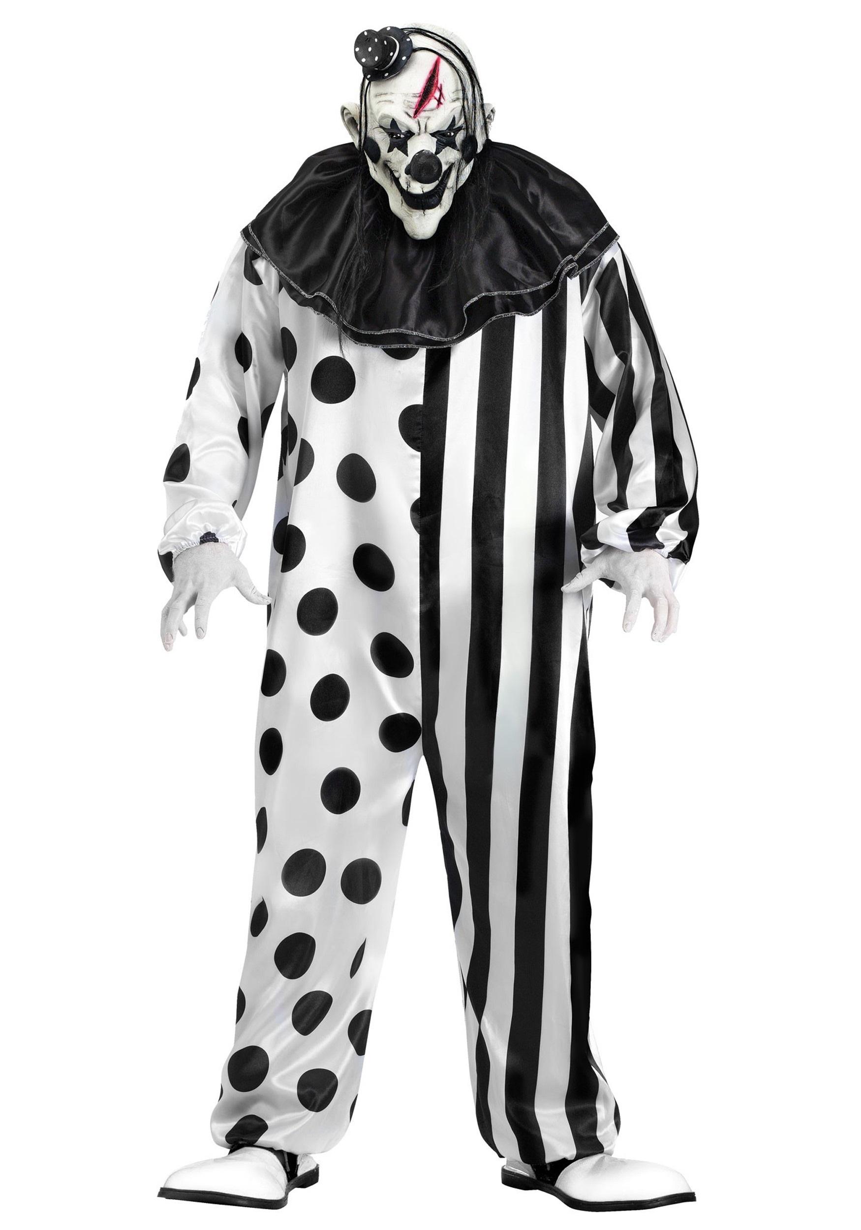 Mens Ladies SCARY JESTER CLOWN COSTUME Halloween Killer Couple Fancy Dress UK