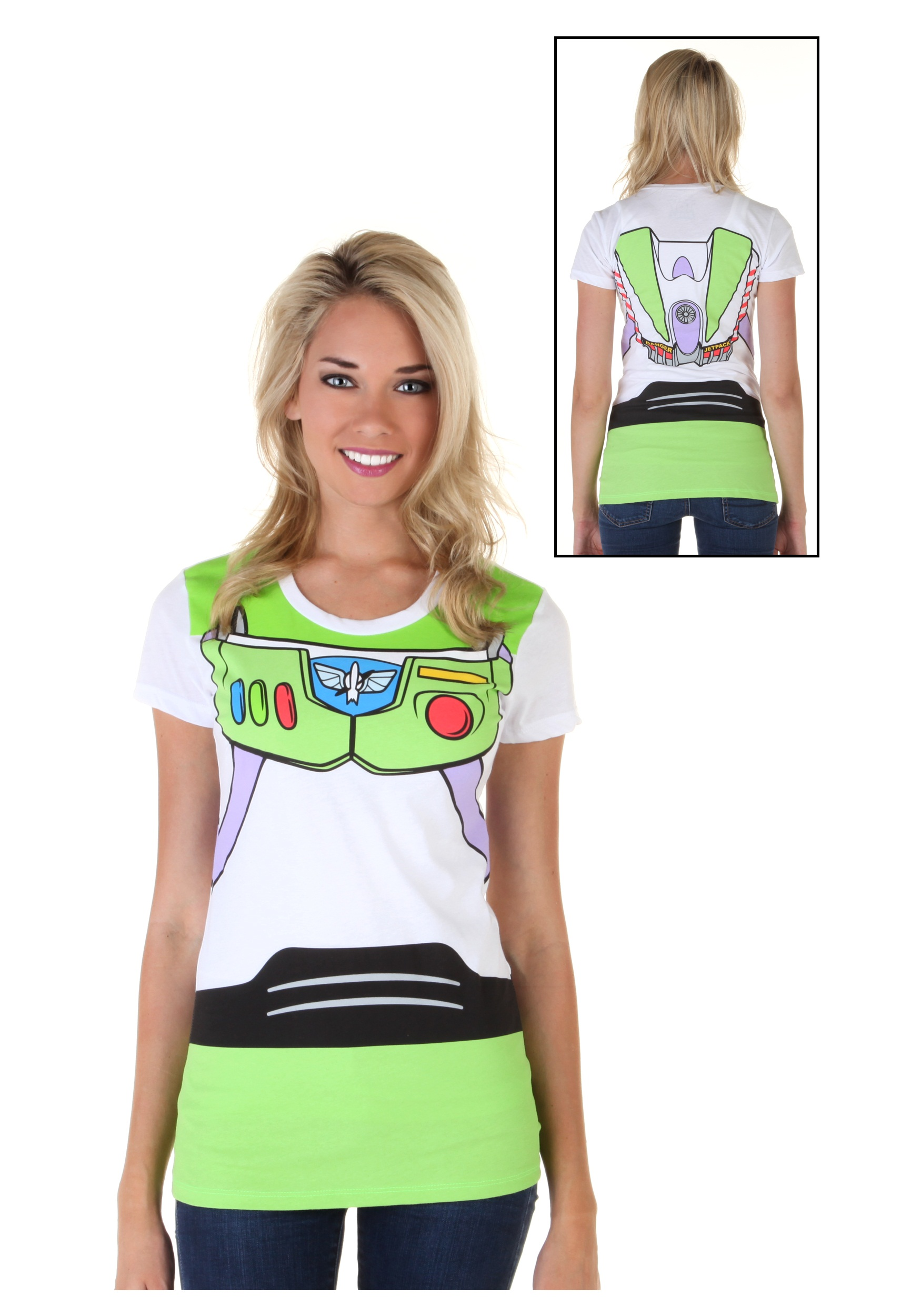 Women 39 s toy story buzz lightyear costume t shirt for Costume t shirts online