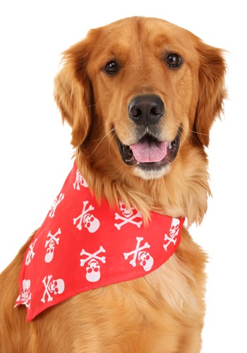 Red Skulls and Bones Bandana Pet Costume