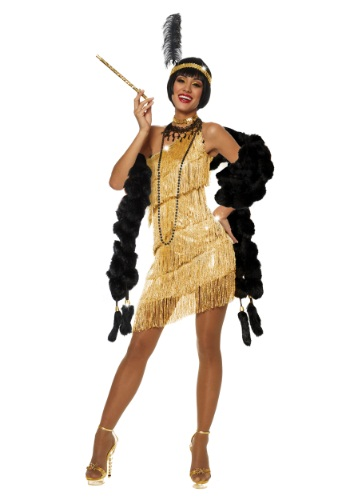 Womens Dazzling Gold Flapper Costume