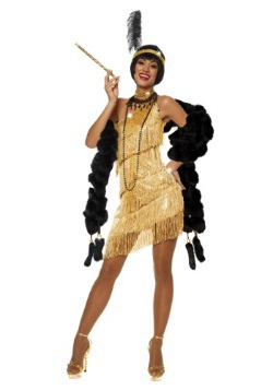 Womens Dazzling Gold Flapper Costume  sc 1 st  Halloween Costumes UK : halloween costumes gatsby  - Germanpascual.Com