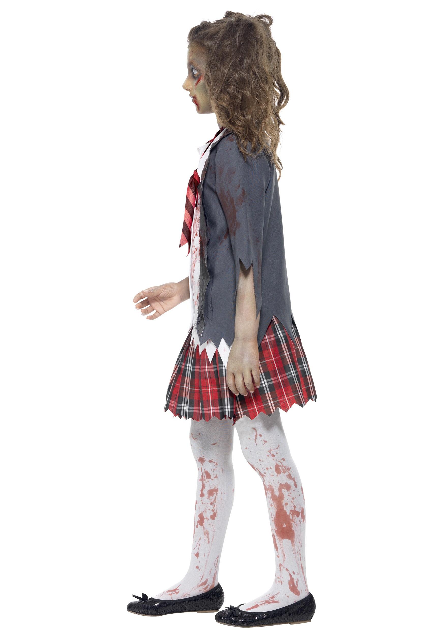 kids zombie school girl costume