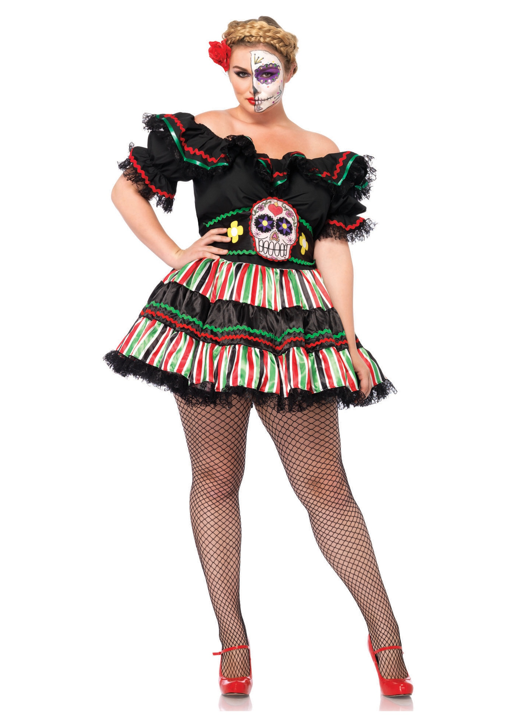 a7d53a6a29d Day of the Dead Doll Plus Size Costume