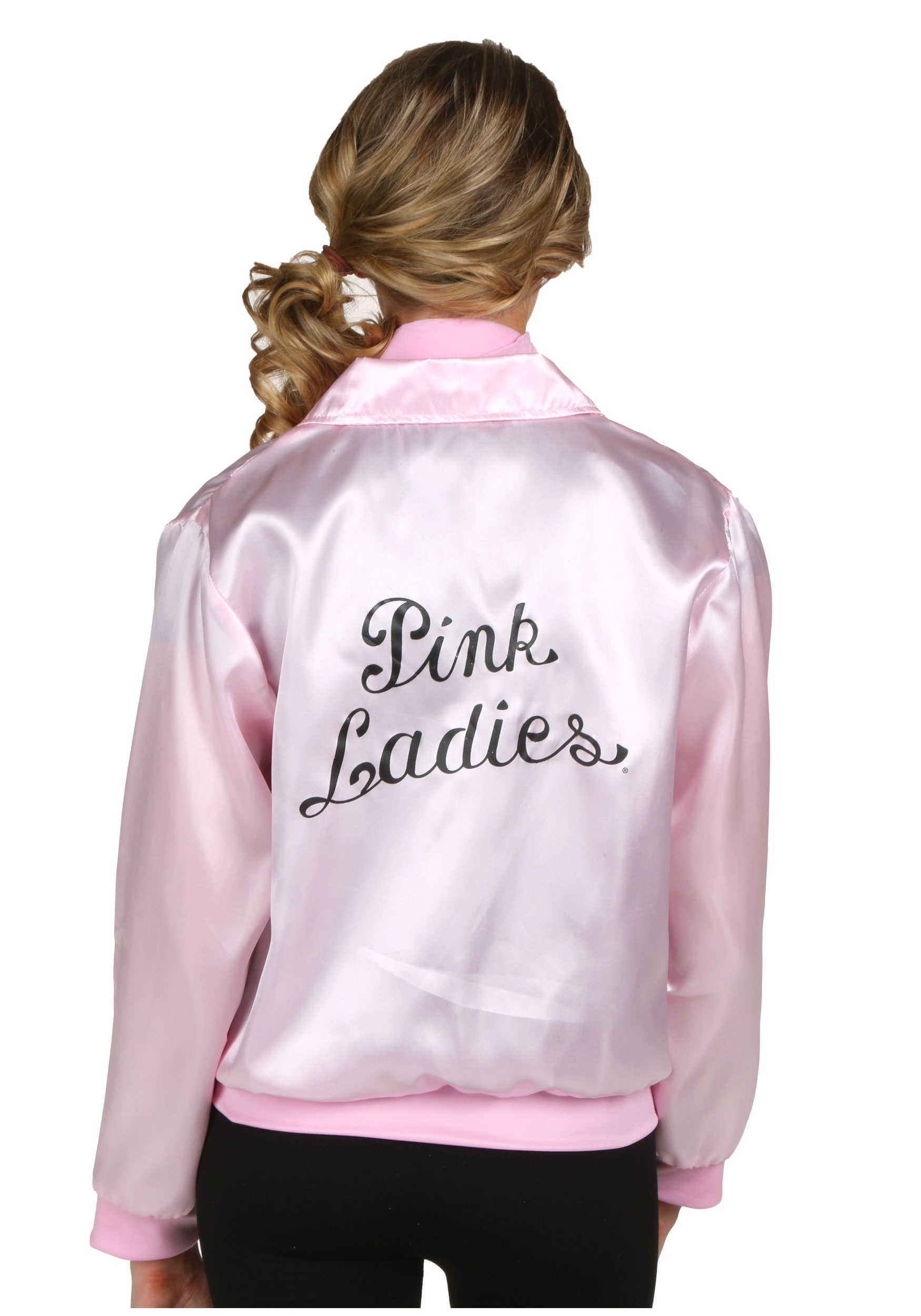 This satin jacket is pink with black trim around the hem, cuffs, zipper front, and collar. The back is screen printed with the words Pink Satin Lady in black script lettering. Wear this jacket with black stretch capri pants and black pumps or a poodle skirt and saddle shoes, all sold separately.5/5(2).