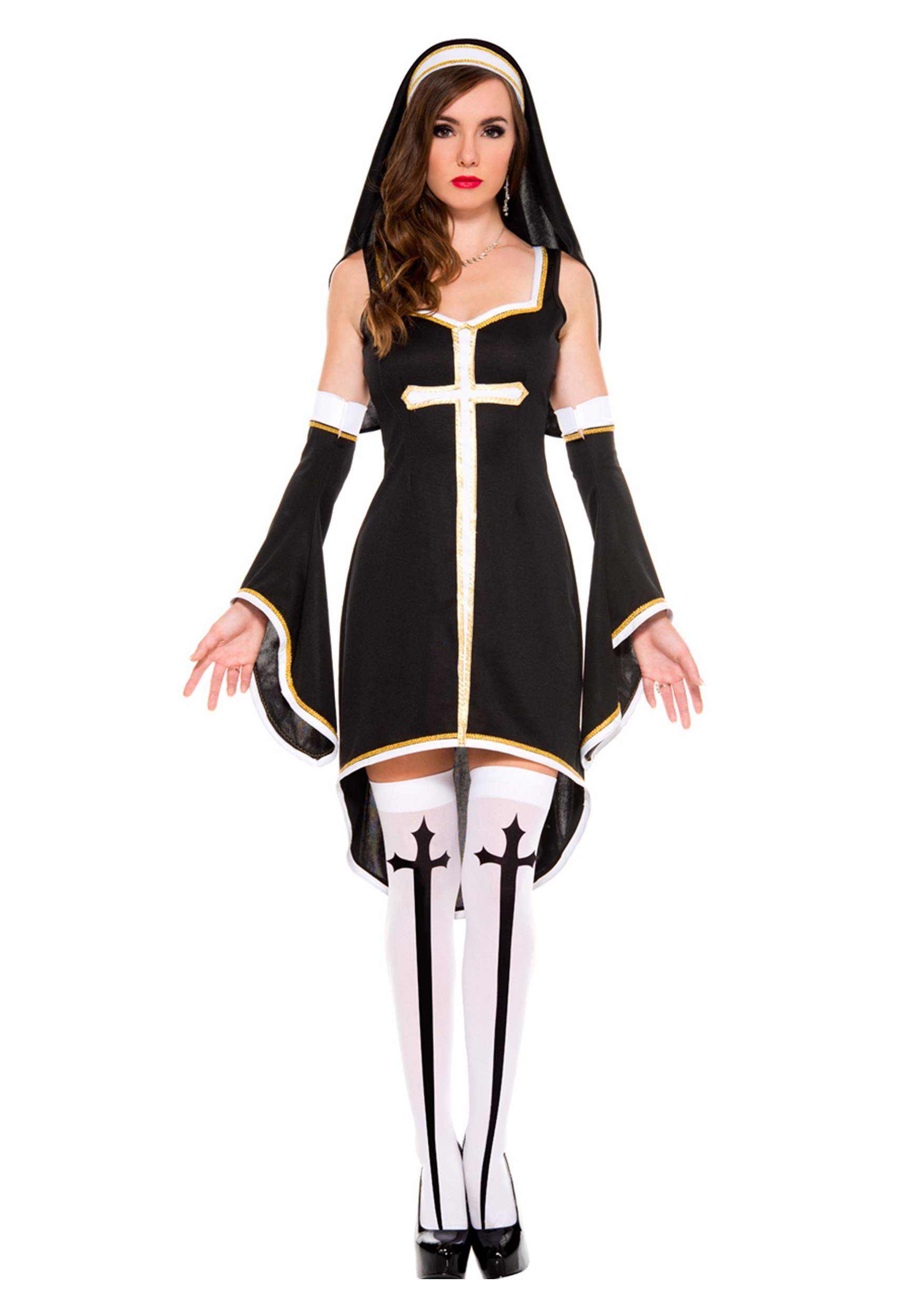 Womens Sinfully Hot Nun Costume  sc 1 st  Halloween Costumes UK & Womenu0027s Sinfully Hot Nun Costume