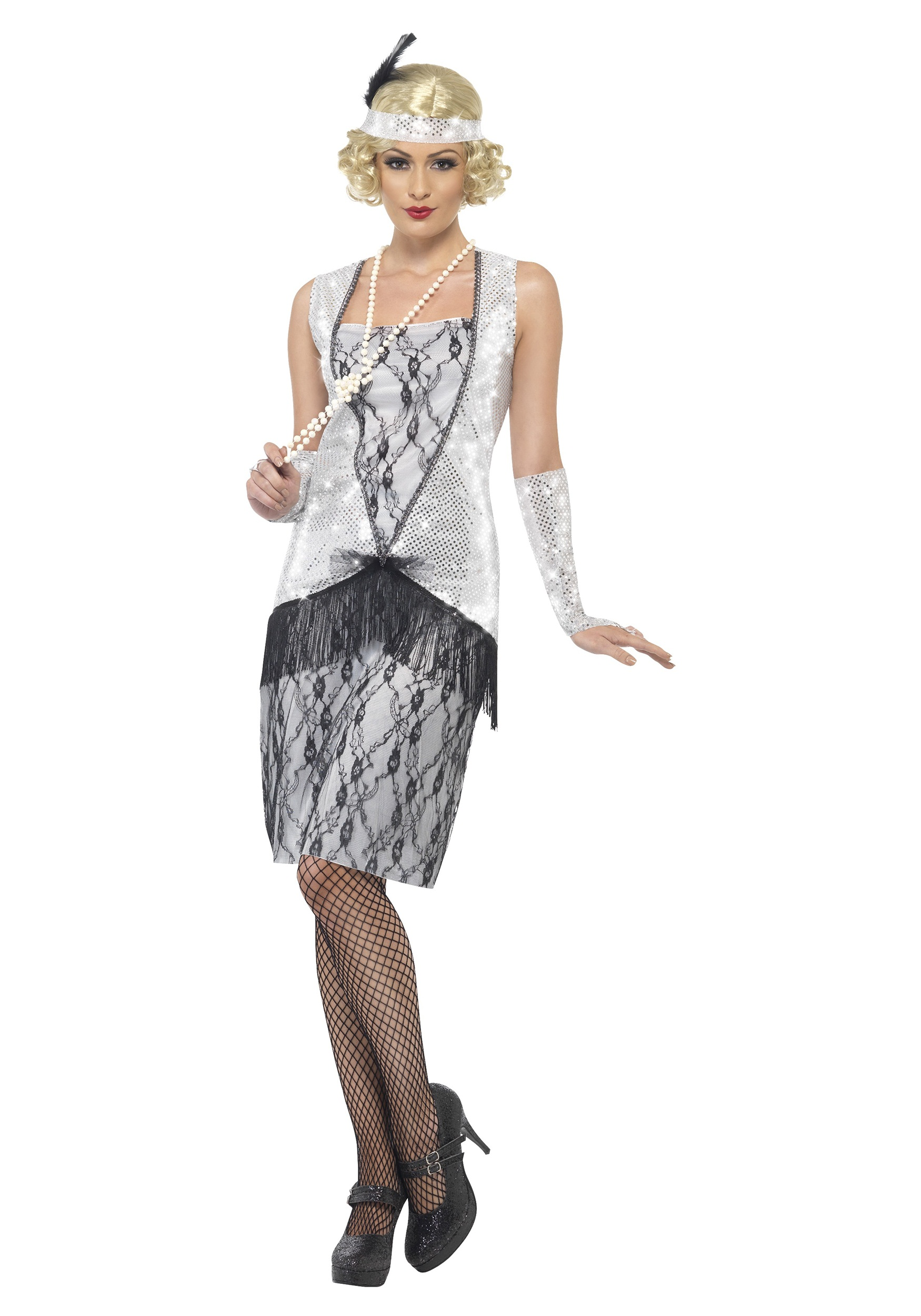 women s 1920s silver flapper costume