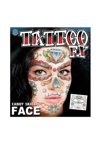 Candy Skull Face Temporary Tattoo