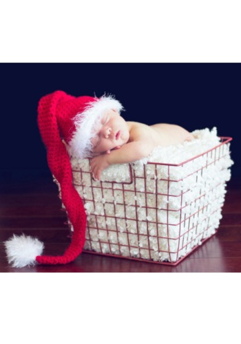 Infant Red Tail Hat with Feather Trim