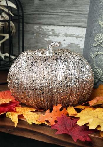 8 Inch Champagne Glitter Pumpkin