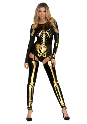 Women's Gold Bad to the Bone Costume