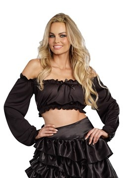 Women's Black Peasant Top