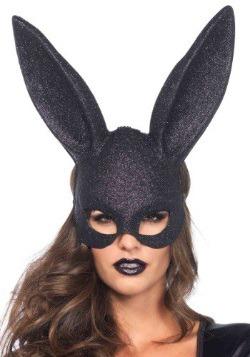 Black Glitter Bunny Mask