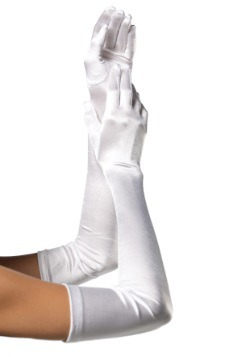 Extra Long White Satin Gloves