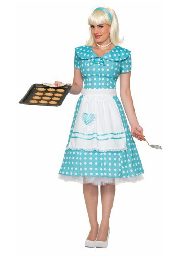 Womens Polka Dot Housewife Costume