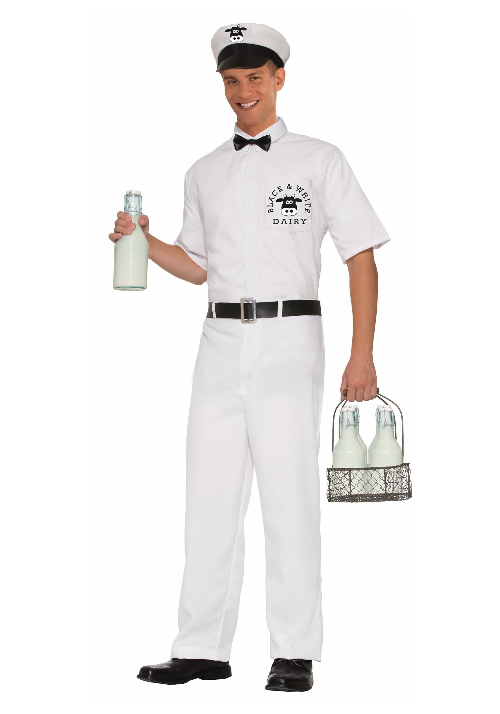 Menu0027s Vintage Milkman Costume  sc 1 st  Halloween Costumes UK & 50u0027s Costumes - Kids and Adults 50s Costumes