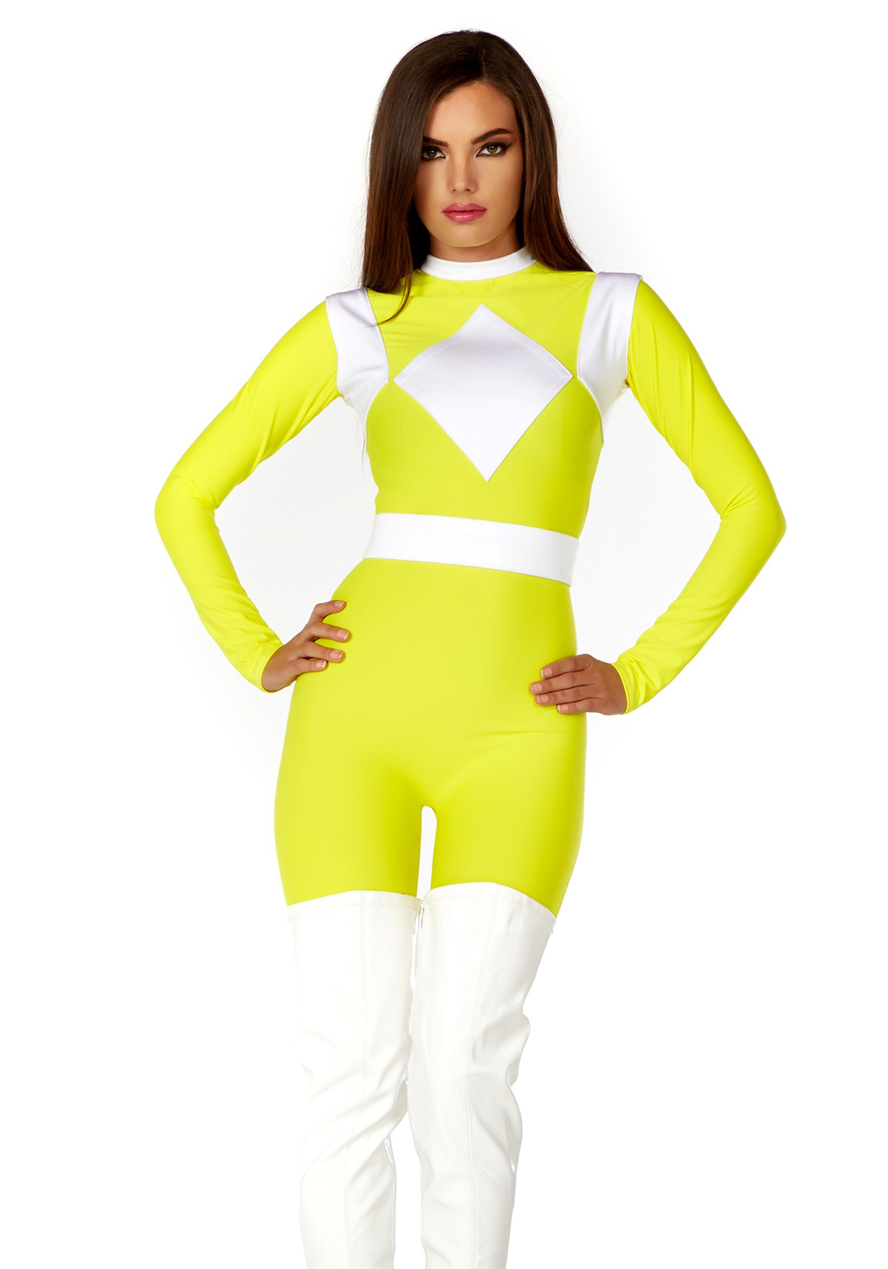 Womens Dominance Action Figure Yellow Catsuit Costume-3337