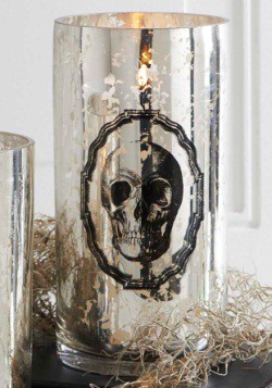 "7.75"" Mercury Glass Skull Print Vase"
