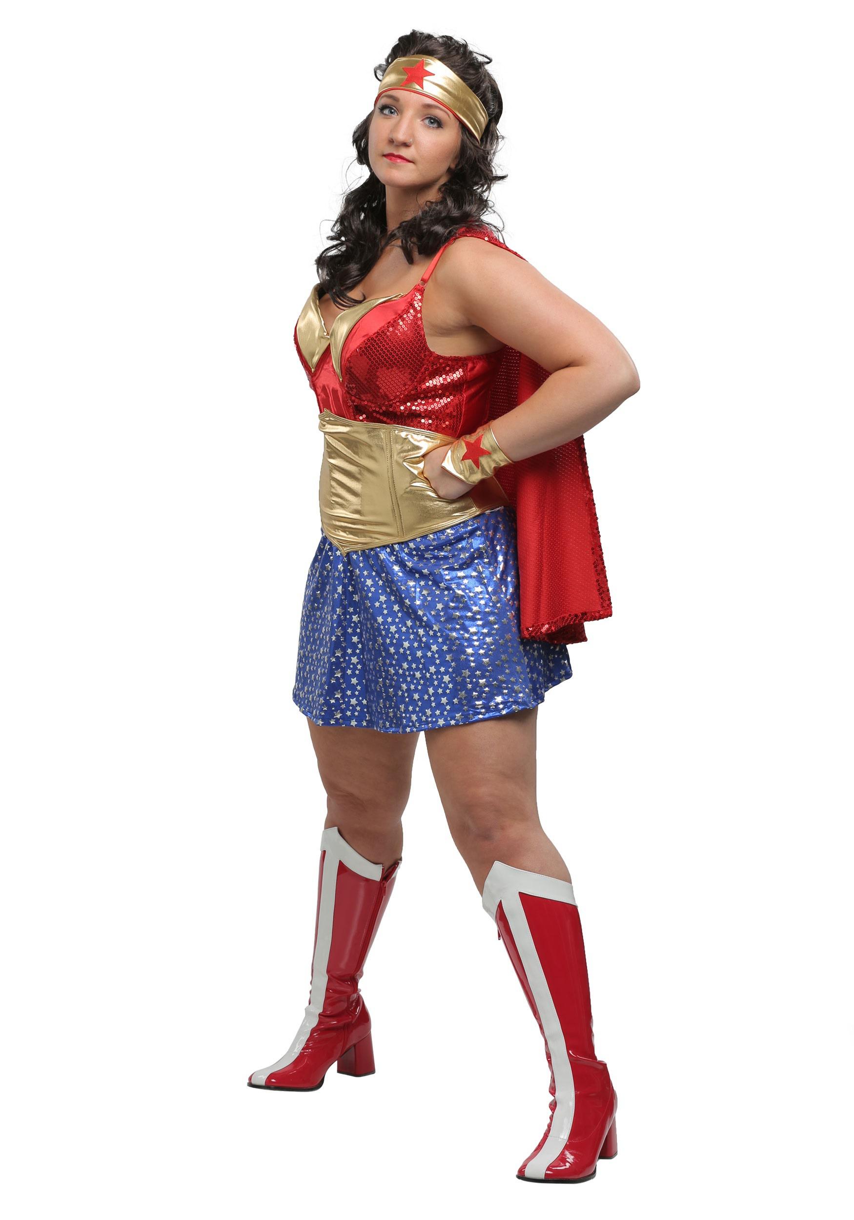 Womens Plus Size Wonder Lady Costume-6346