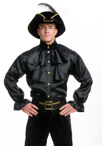 Mens Black Satin Ruffle Shirt