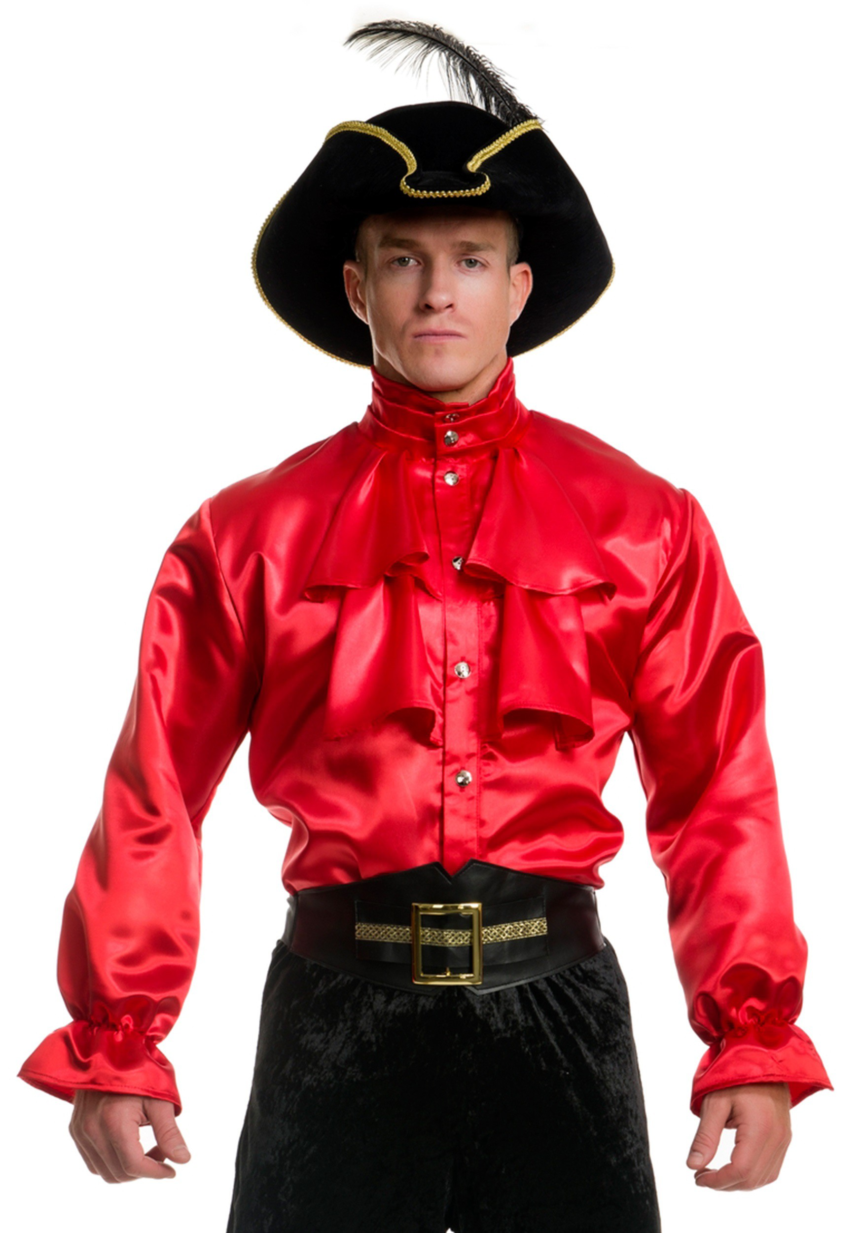 Men 39 s red satin ruffle shirt for Frilly shirts for men