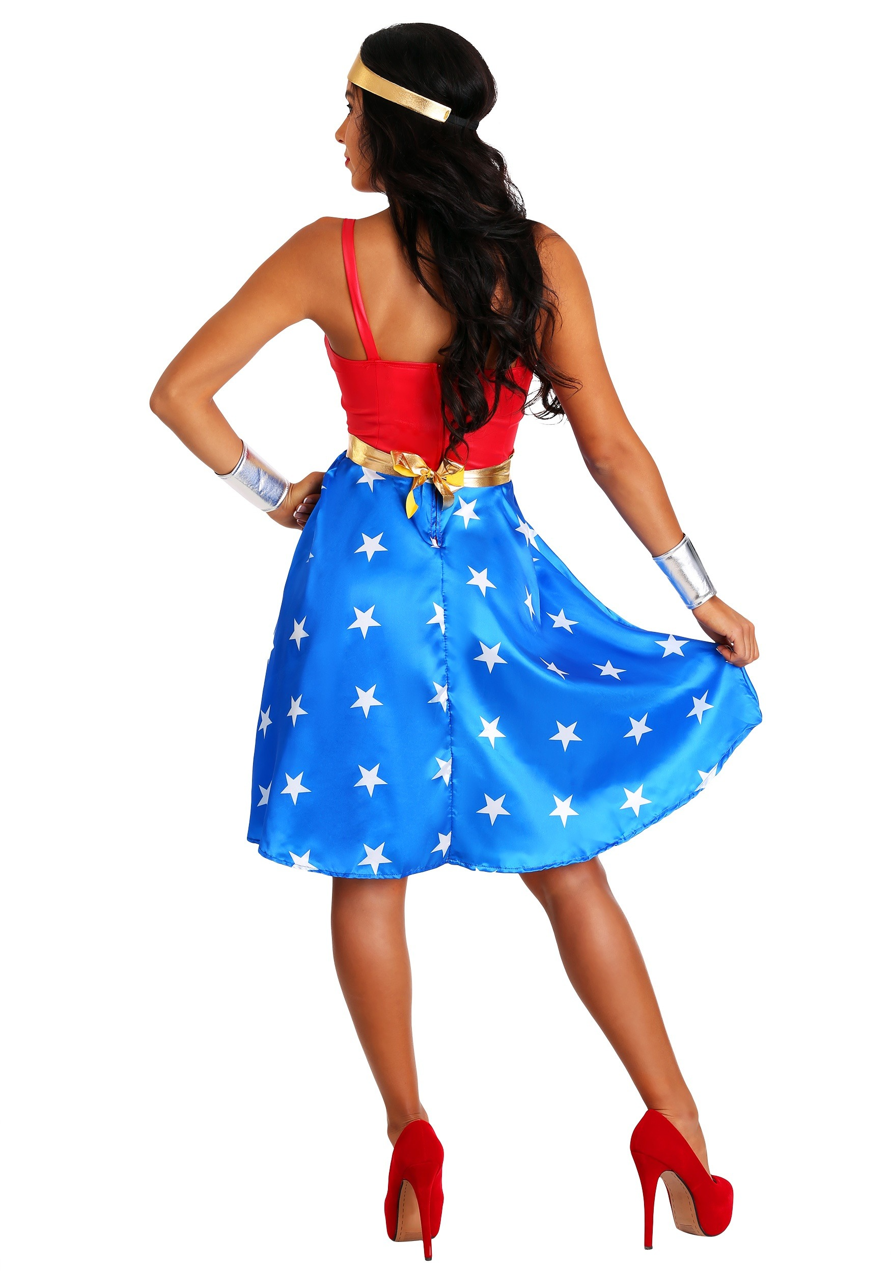 Adult Deluxe Long Dress Wonder Woman Costume-8726
