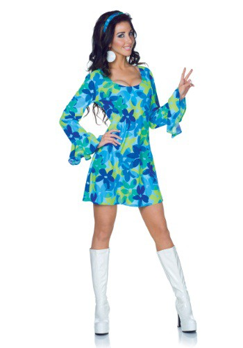 Plus Size Wild Flower 70s Retro Dress Costume