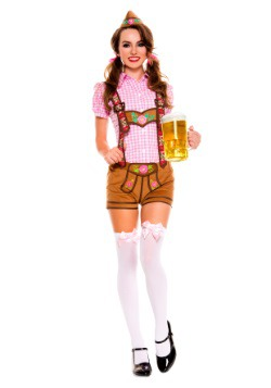 Womenu0027s Lederhosen Beer Babe Costume  sc 1 st  Halloween Costumes UK & German Costumes - Adult Sexy German Beer Girl Costume