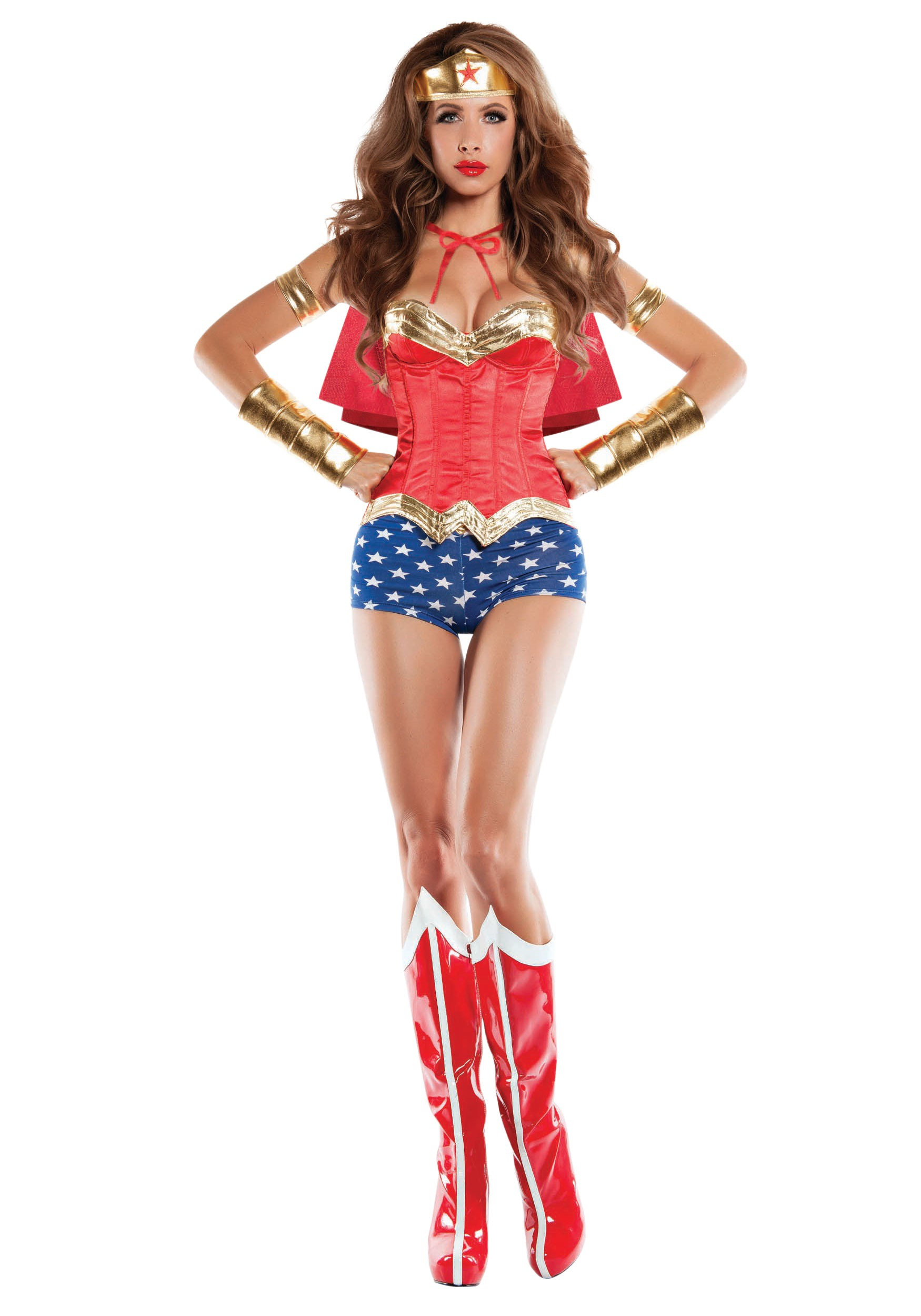 Womens Corseted Wonder Lady Costume-9301