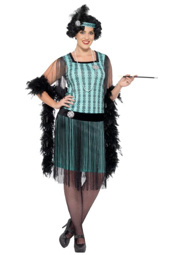 Women's Plus Size 1920s Mint Coco Flapper Costume
