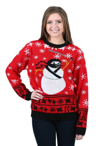Ninja Snowman Ugly Christmas Sweater