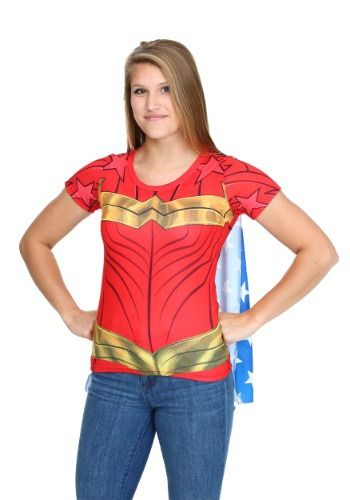 Wonder Woman Sublimated Juniors Caped Tee